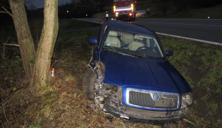 Řidič kvůli únavě narazil se svým vozem do stromu