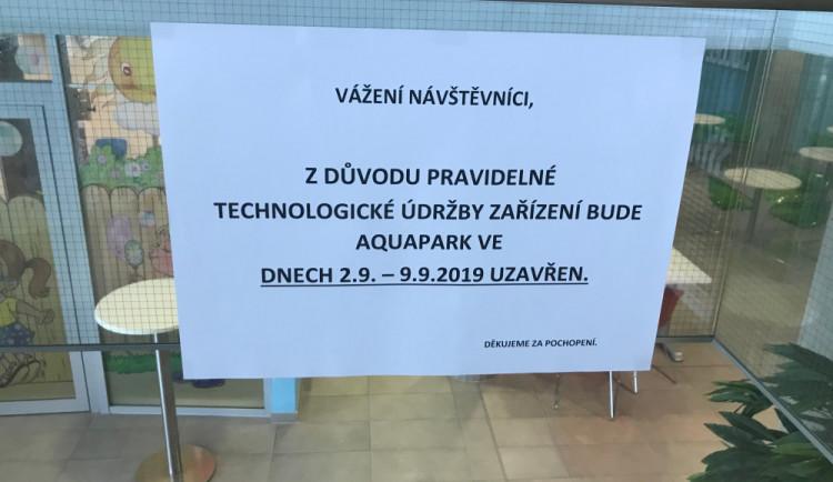 Olomoucký aquapark bude až do začátku příštího týdne uzavřený, čeká ho povinná odstávka