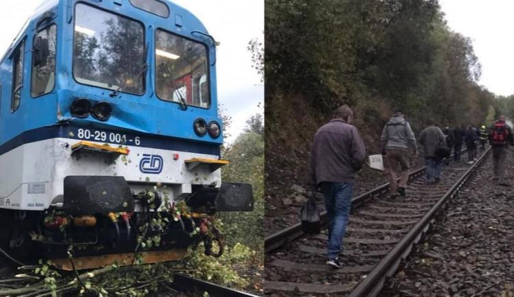FOTO: Rychlík, ve kterém bylo přes třicet cestujících, narazil do sedmi popadaných stromů