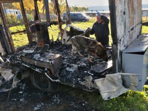 Policisté pátrájí po žhářích víkendových požárů, při vyšetřování pomáhá i speciálně vycvičená fenka Betty