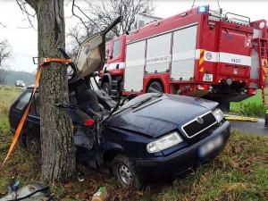 AKTUÁLNĚ: Řidič narazil autem do stromu. Vyprostit jej museli hasiči