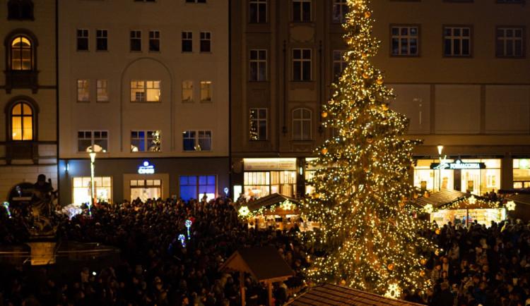 FOTO/VIDEO: Vánoční strom na Horním náměstí se letos podařilo rozsvítit až napotřetí. Někdo ho vytáhl ze zásuvky
