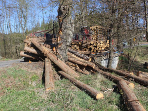 Řidič při projíždění zatáčkou převrátil přívěs s dřevěnými kládami
