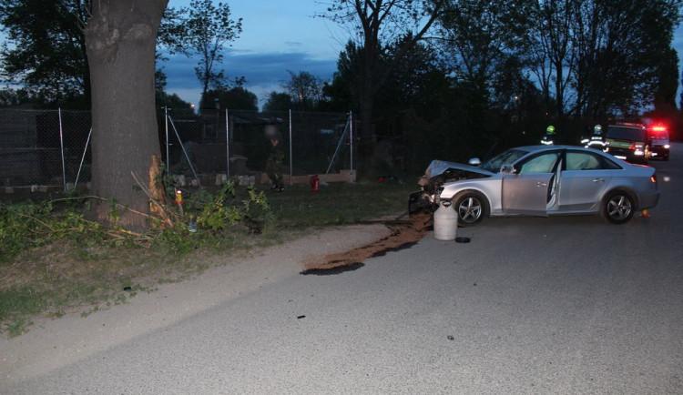 Řidič na Černé cestě narazil se svým autem do stromu, při nehodě se těžce zranila spolujezdkyně