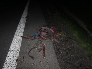 Upínací pásy ležící na dálnici D46 poškodily sporťák a dva kamiony. Jednomu z nich prorazily nádrž