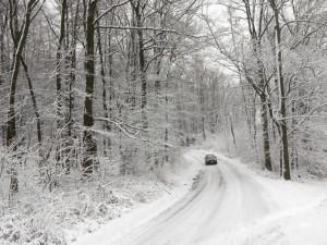 Na silnicích v Jeseníkách leží zledovatělá vrstva sněhu. Místy se vyskytuje i mlha